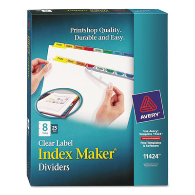 Avery 11424 Index Maker Print & Apply Clear Label Dividers with Color Tabs