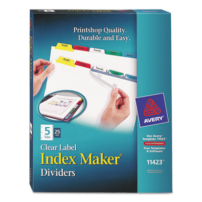 Avery 11423 Index Maker Clear Label Punched Dividers with Color Tabs
