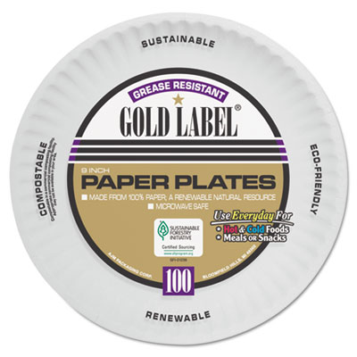 AJM CP9GOAWH Packaging Corporation Gold Label Coated Paper Plates