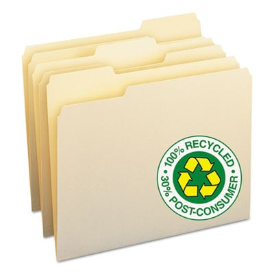 Smead 10339 100% Recycled Manila Top Tab File Folders