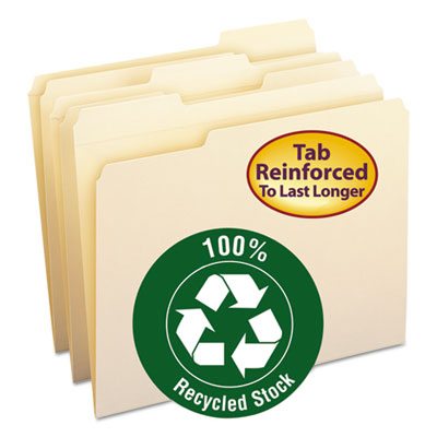 Smead 10347 100% Recycled Reinforced Top Tab File Folders