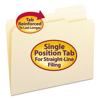 Smead Manufacturing 10386 Smead Reinforced Guide Height File Folders