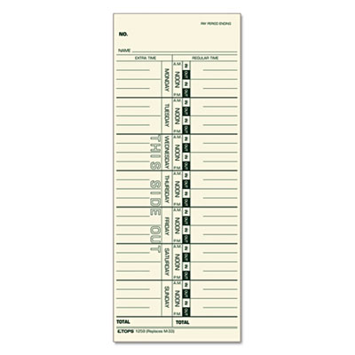 Tops Business Forms 1259 TOPS Time Clock Cards
