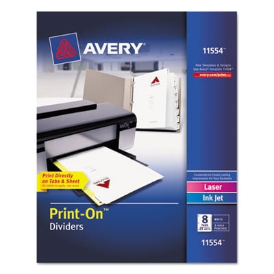 Avery 11554 Print-On Dividers with White and Ivory Color Tabs for Laser and Inkjet Printers