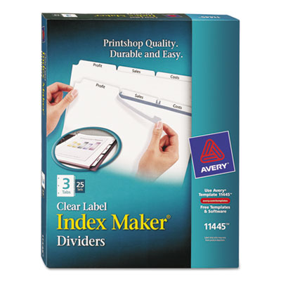 Avery 11445 Index Maker Print & Apply Clear Label Dividers with White Tabs