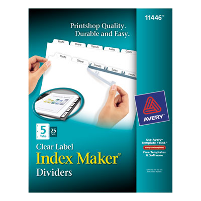 Avery 11446 Index Maker Clear Label Punched Dividers with White Tabs