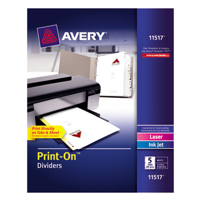 Avery 11517 Print-On Dividers with White and Ivory Color Tabs for Laser and Inkjet Printers