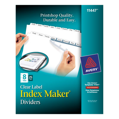 Avery 11447 Index Maker Print & Apply Clear Label Dividers with White Tabs