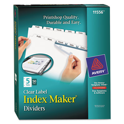 Avery 11556 Index Maker Print & Apply Clear Label Dividers with White Tabs