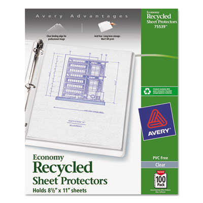 Avery 75539 Recycled Economy Weight Clear and Semi Clear Sheet Protector