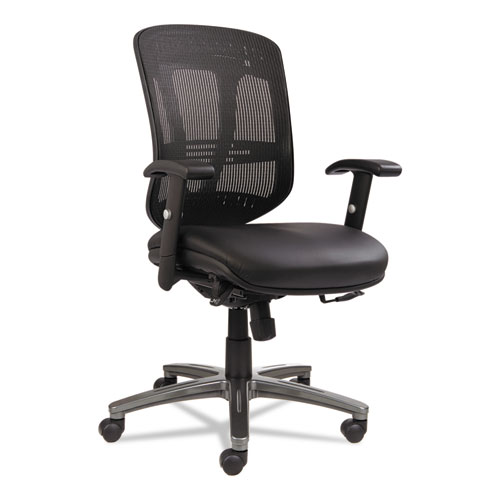 Alera EN4215 Eon Series Multifunction Mid-Back Leather/Mesh Chair