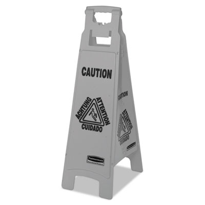 Rubbermaid 1867510CT Commercial Executive 4-Sided Multi-Lingual Caution Sign