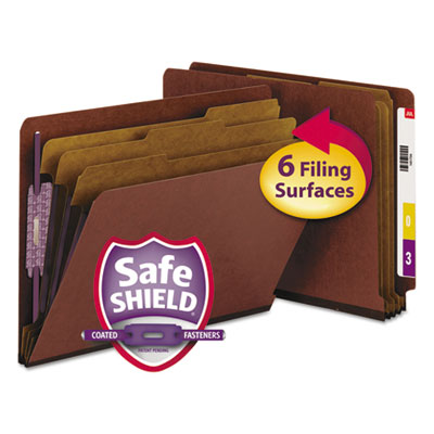 Smead Manufacturing 26865 Smead End Tab Pressboard Classification Folders With SafeSHIELD Coated Fasteners