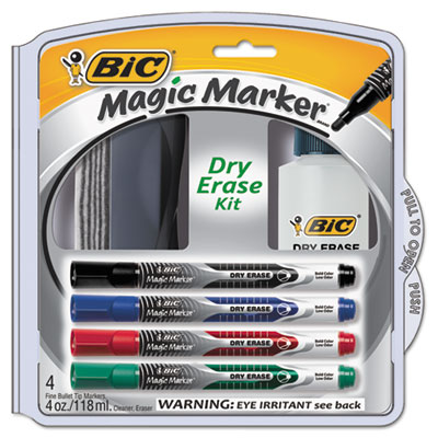 BIC DEPKITP61 Magic Marker Brand Low Odor &  Bold Writing Dry Erase Markers