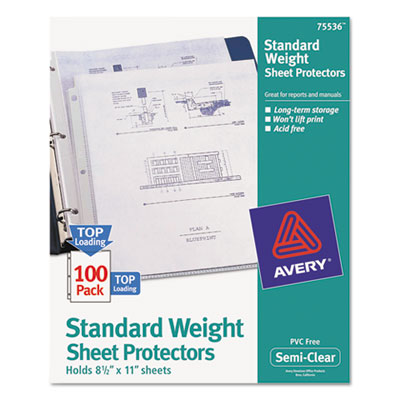 Avery 75536 Standard and Economy Weight Clear and Semi-Clear Sheet Protector
