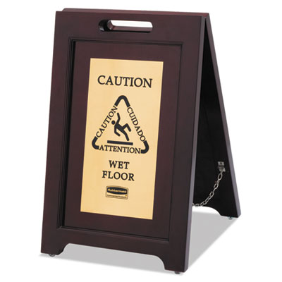 Rubbermaid Commercial 1867507 Executive 2-Sided Multi-Lingual Wooden Caution Sign