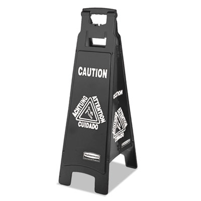 Rubbermaid 1867509 Commercial Executive 4-Sided Multi-Lingual Caution Sign