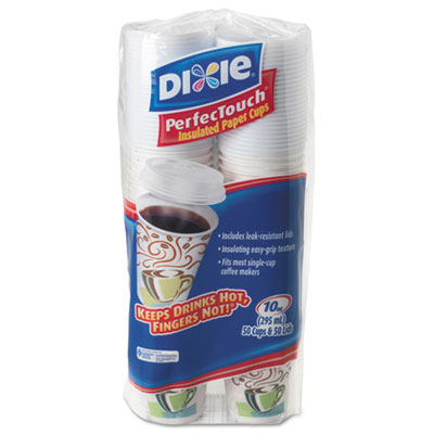 Dixie 5310CMB600CT PerfecTouch Paper Hot Cups & Lids Combo
