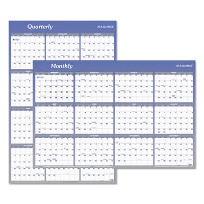 AT-A-GLANCE A1102 Vertical/Horizontal Erasable Quarterly/Monthly Wall Planner