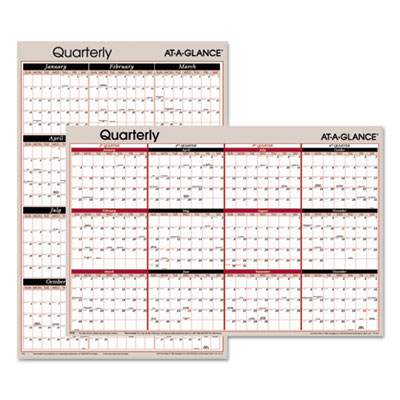 AT-A-GLANCE A123 Vertical/Horizontal Erasable Quarterly/Monthly Wall Planner
