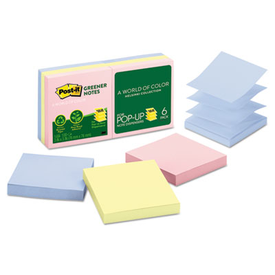Post-it R330RP6AP Greener Notes Original Recycled Pop-up Notes