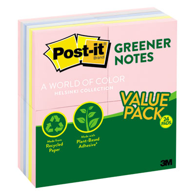 3M 654RP24AP Post-it Greener Notes Original Recycled Note Pads