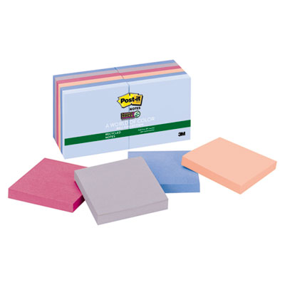 3M 65412SSNRP Post-it Notes Super Sticky Recycled Notes in Bali Colors