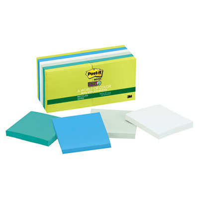 Post-it 65412SST Notes Super Sticky Recycled Notes in Bora Bora Colors