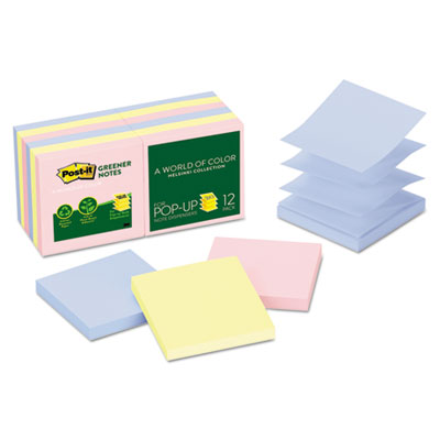 Post-it R330RP12AP Greener Notes Original Recycled Pop-up Notes