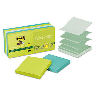 Post-it R33010SST Pop-up Notes Super Sticky Pop-up Recycled Notes in Bora Bora Colors
