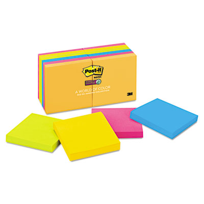 Post-it 65412SSUC Notes Super Sticky Pads in Rio de Janeiro Colors