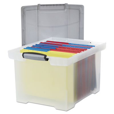 Storex 61530U01C Portable File Tote with Locking Handles