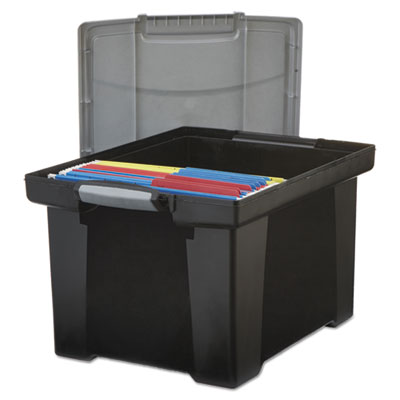 Storex 61543U01C Portable File Tote with Locking Handles