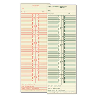 Tops Business Forms 1276 TOPS Time Clock Cards