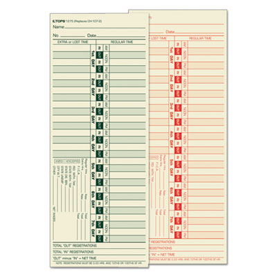Tops Business Forms 1275 TOPS Time Clock Cards