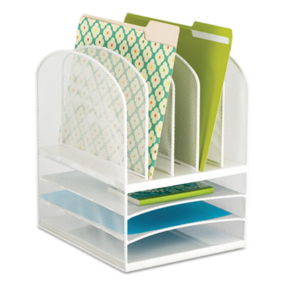 Safco 3266WH Onyx Mesh Desk Organizer with Five Vertical/Three Horizontal Sections