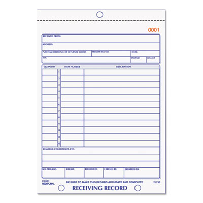 Rediform 2L259 Receiving Record Book