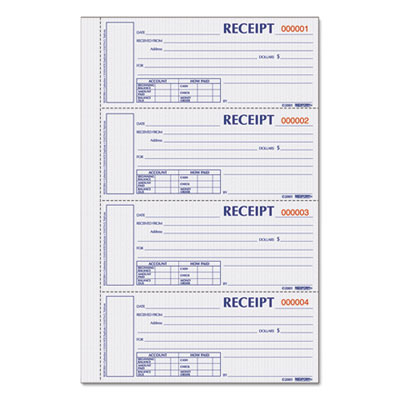Rediform S1657NCL Durable Hardcover Numbered Money Receipt Book