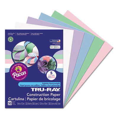 9 x 12 50/% Recycled Yellow Pack of 50 9 x 12 Pacon Corporation PAC103004 Tru-Ray Construction Paper