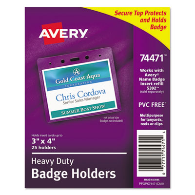 Avery 74471 heavy duty secure top name badge holders for Avery name badge template 5392