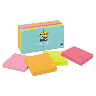 Post-it 65412SSMIA Notes Super Sticky Pads in Miami Colors