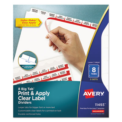 avery 11493 index maker print apply clear label dividers with white tabs. Black Bedroom Furniture Sets. Home Design Ideas