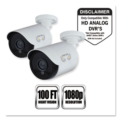 Night Owl CAM2PKHDA10W Add-On HD Wired Security Bullet Cameras