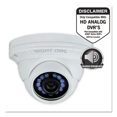 Night Owl CAMHDA10WDMA Add-On HD Wired Audio-Enabled Security Dome Camera