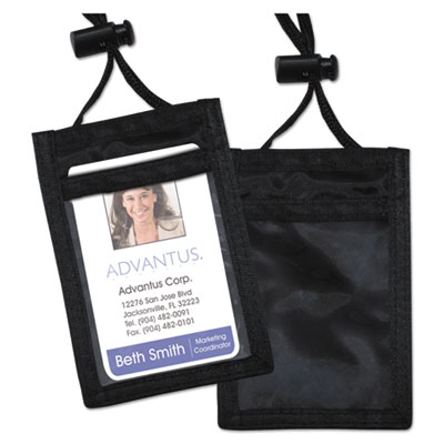 Advantus 75453 ID Badge Holders With Convention Neck Pouch