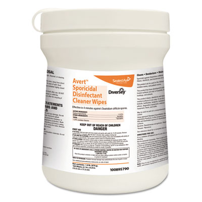 Diversey 100895790 Avert Sporicidal Disinfectant Cleaner Wipes