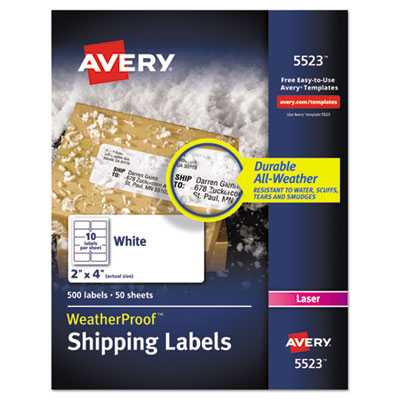 avery template 5523 - avery weatherproof durable mailing labels with trueblock