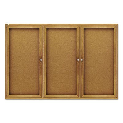 Quartet 367 Enclosed Indoor Cork Bulletin Board with Hinged Doors