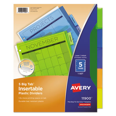 AVERY Style Edge Insertable Plastic Dividers 5 Tabs 11200 4 SETS FOR $12 -