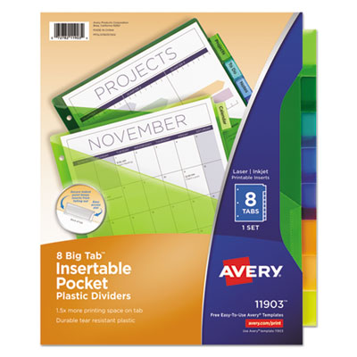 Avery insertable big tab plastic single pocket dividers for Avery template 11903